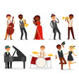 jazz musician character playing on musical vector image