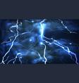 lightning on a blue background vector image vector image