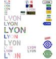 Lyon text design set vector image vector image