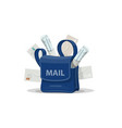 Mail bag of postman with letter envelope icon vector image