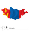 Map of Mongolia with flag vector image vector image