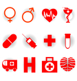 medical red icons vector image
