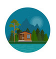 night landscape with forest house on lake vector image vector image