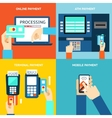 Payment methods Credit card cash mobile app and vector image vector image