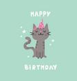 pet birthday partycat in festive capcartoon vector image vector image