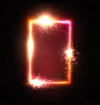 realistic 3d rectangle neon frame with red light vector image