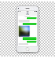 realistic white phone template with green chat vector image vector image