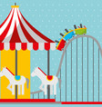 roller coaster and carousel carnival fun fair vector image vector image