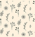rustic floral pattern in hand drawn style vector image vector image
