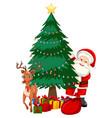 santa next to christmas tree vector image