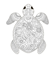 sea turtle coloring for adults vector image