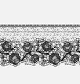 seamless lace band with roses openwork of black vector image vector image