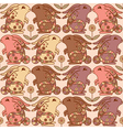 Seamless pattern with bunnies and flowers vector image