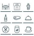 set of 9 cafe icons includes lemonade hooch vector image vector image