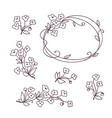 set of floral design elements flower branch vector image
