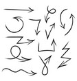 set of hand drawn arrows for highlighting text vector image vector image