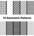 Set of ten geometric patterns vector image vector image