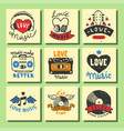 set of vintage musical cards hand drawn templates vector image vector image