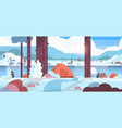 tents camping area in winter forest camp concept vector image vector image