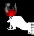 white silhouette of hand holding a glass with red vector image vector image