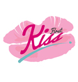 First Kiss Lipstick Kiss On White Background vector image
