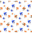 blue and orange fish on a white background vector image