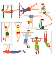athlete on horizontal bar vector image vector image