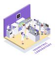 bio engineering lab isometric composition vector image vector image