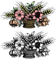 Bouquet of flowers in the basket vector image vector image