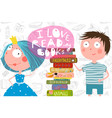 boy girl and books love reading design vector image