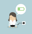 businesswoman feeling tired and charging battery vector image vector image