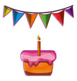 cake pastel with candle and flag party vector image vector image