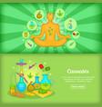 cannabis banner set template cartoon style vector image