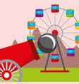 cannon ferris wheel carnival fun fair festival vector image vector image