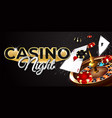 casino night banner with card and chip vector image vector image