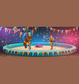 chapiteau circus bear and handler stage or arena vector image vector image