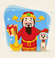 chinese god of wealth holding gift box and cute vector image