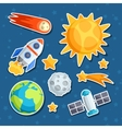 Cosmic icon set of solar system planets and vector image