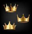 crown set isolated black background vector image vector image