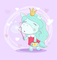cute cartoon unicorn girl with flowers blowing vector image