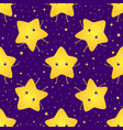 cute kawaii bright smiling stars seamless sweet vector image