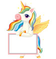 cute unicorn holding blank banner template vector image vector image