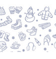 doodle hand drawn winter elements and objects vector image vector image