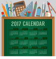 Education Concept 2017 Printable Calendar vector image