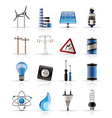 electricity and energy icons vector image vector image