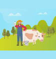 farmer with cow presenting fresh milk in bucket vector image vector image