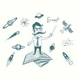 funny scientist stands on books vector image