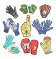 glove woolen mittens and protective pair of vector image vector image