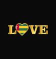 golden love typography togo flag design vector image vector image