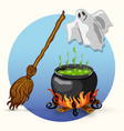 halloween ghost broom witch cauldron vector image